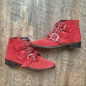 Topshop red suede buckle boots